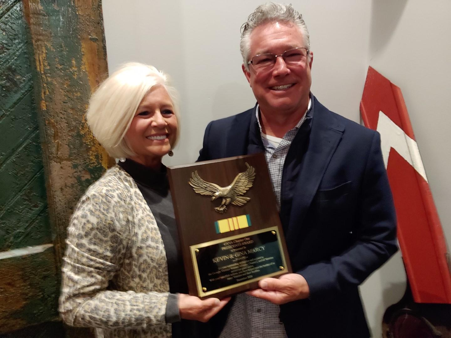 PRESIDENTS AWARD presented to KEVIN R. and Gina Marcy Feb 25th, 2021