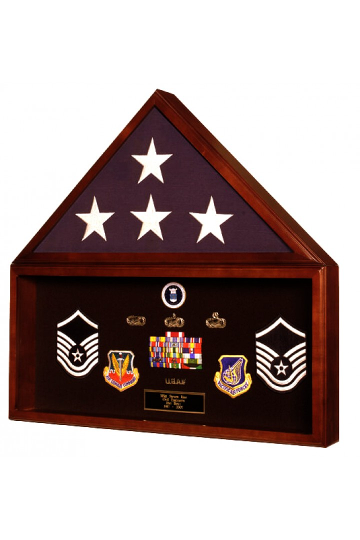 Flag Case and Shadowbox Display in Heirloom Walnut 16DC